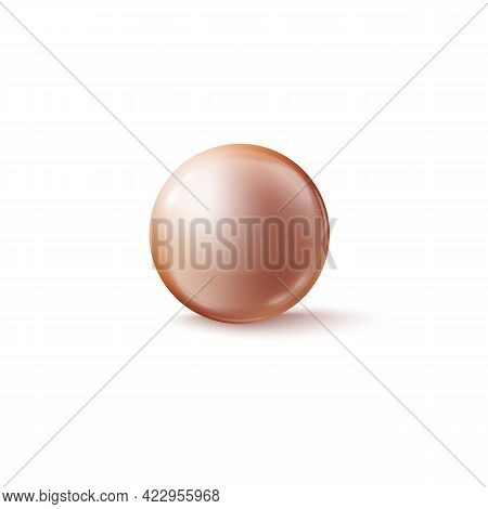 Light Brown Glass Round Bead Or Pearl, Realistic Vector Illustration Isolated.