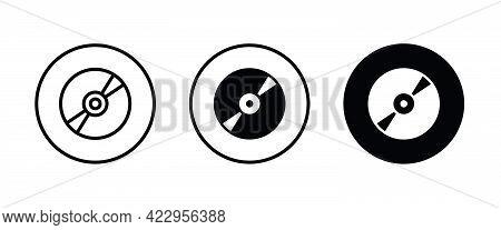 Cd Or Dvd Icons Button, Vector, Sign, Symbol, Logo, Illustration, Editable Stroke, Flat Design Style