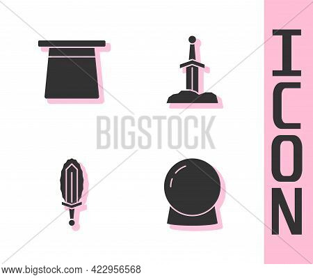 Set Magic Ball, Hat, Sword In Fire And Sword The Stone Icon. Vector