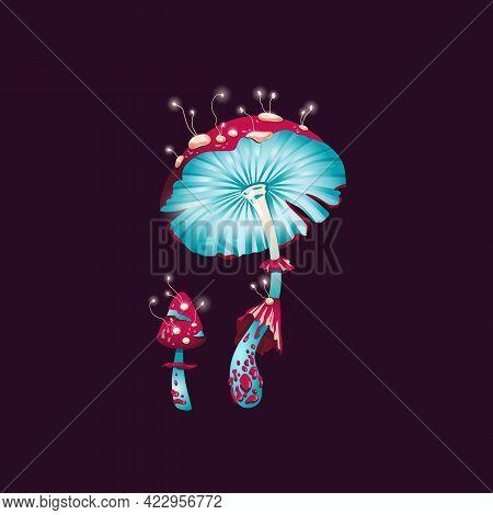 Magic Fantasy Mushrooms, Unusual Glowing Fairytail Fly Agarics.