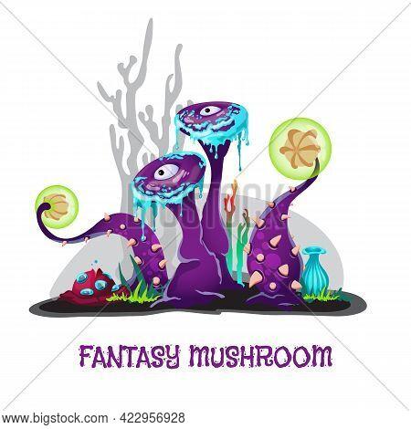 Fantasy Mushrooms In Bright Unusual Colors Flat Vector Illustration Isolated.