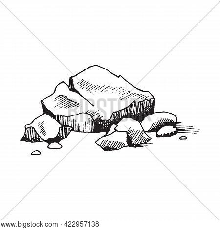 Stone Pile Of Cobblestones Or Boulders, Engraving Vector Illustration Isolated.