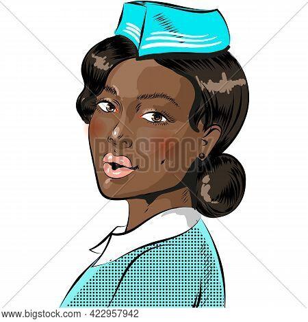 Pop Art Flight Attendant, Stewardess Comic Vector On White