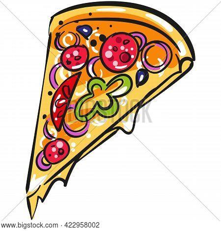 Pizza Slice Vector Illustration Icon On White