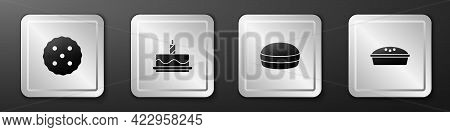 Set Cookie Or Biscuit, Cake With Burning Candles, Macaron Cookie And Homemade Pie Icon. Silver Squar