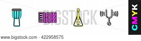 Set Drum, Accordion, Guitar And Musical Tuning Fork Icon. Vector