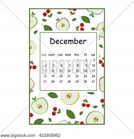 Fruit Calendar For 2022 With Fruit Pattern For The Month Of December, Color Vector Summer Illustrati
