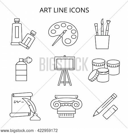 Painting And Art. Set Of Black Icons In Flat Style