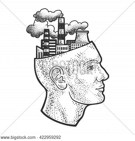 Industrial Factory Plant In Head Abstract Line Art Sketch Engraving Vector Illustration. T-shirt App