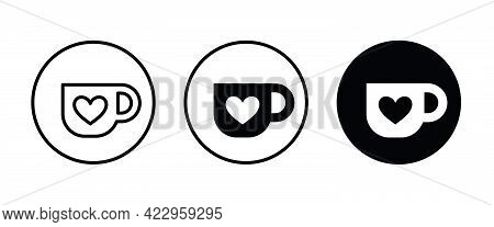 Hot Cup Of Tea Icon. Mug With Heart, Coffee, Tea Cup With Heart Icons Button, Vector, Sign, Symbol,
