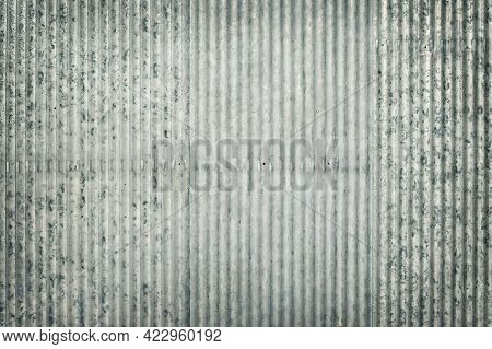 Old Zinc Wall Texture Background, Pattern Of Galvanized Metal Panel Sheeting With Vintage Style.