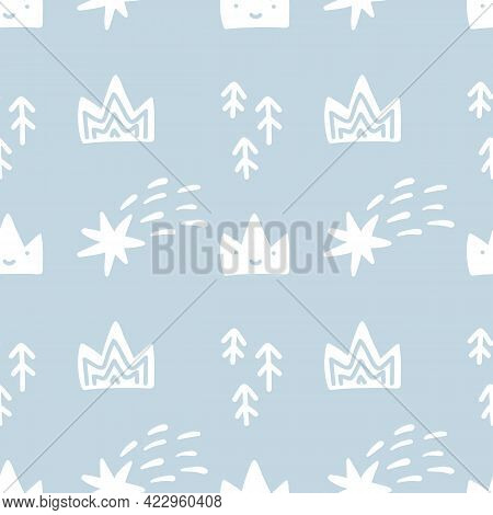 Hand Drawn Cute Crown, Fir Trees And Comets. Vector Illustration Seamless Pattern. Simple Repeated T