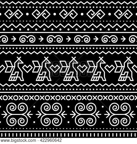 Slovak Tribal Folk Art Vector Seamless Geometric Pattern With Brids And Swirls Motif Inspired By Tra