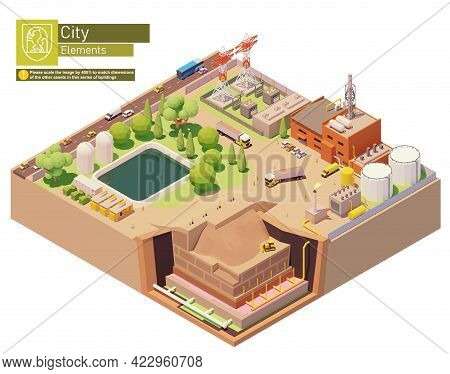 Vector Isometric Landfill Gas Power Station Or Plant