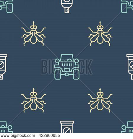 Set Line Spray Against Insects, Mosquito And Off Road Car On Seamless Pattern. Vector