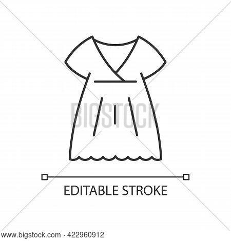 Nightgown Linear Icon. Long Dress. Luxury Women Apparel. Outfit For Girls. Silk Wear. Thin Line Cust