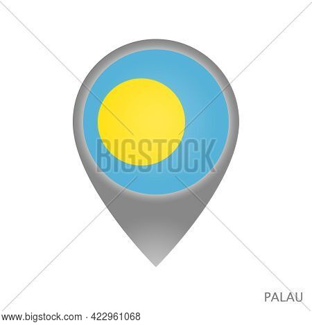 Map Pointer With Flag Of Palau. Palau Pointer Map Isolated Icon. Vector Illustration