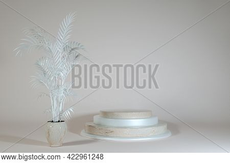3d Minimal Scene With Geometric Forms. Beige Marble Podium On Pastel Background. Scene To Show Cosme