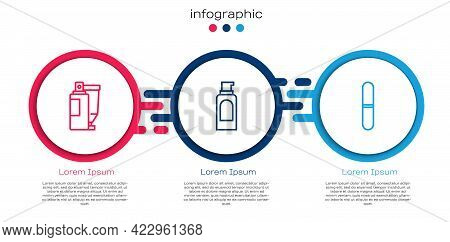 Set Line Cream Or Lotion Cosmetic Tube, Spray Can For Hairspray And Nail File. Business Infographic