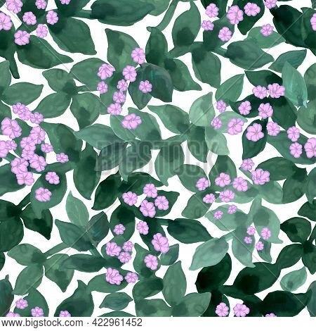 Vector Seamless Hand Drawn Floral Background. Background With Watercolor Flowers. Seamless Pattern.