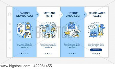 Principal Greenhouse Gases Onboarding Vector Template. Responsive Mobile Website With Icons. Web Pag