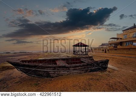 Russia. Republic Of Dagestan. Early Morning On The Western Shore Of The Caspian Sea. An Old Wooden B