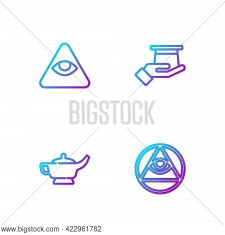 Set Line Masons, Magic Lamp Or Aladdin, And Magician Hat Hand. Gradient Color Icons. Vector