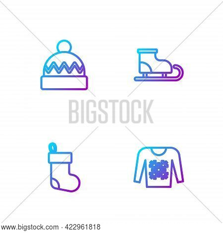 Set Line Christmas Sweater, Stocking, Winter Hat And Figure Skates. Gradient Color Icons. Vector