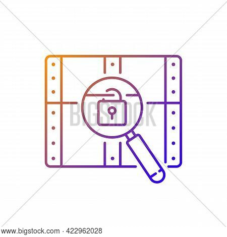 Chest With Lock Gradient Linear Vector Icon. Search For Pirate Treasure. Open Casket. Solving Puzzle