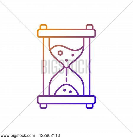Hour Glass Gradient Linear Vector Icon. Time Measurement. Countdown With Old Clock. Solving Puzzles,