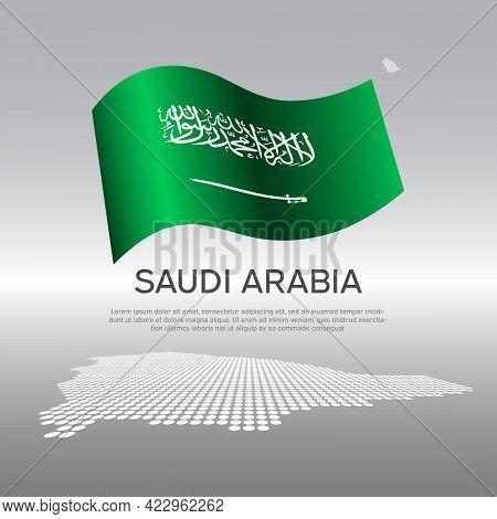 Saudi Arabia Wavy Flag And Mosaic Map On Light Background. Creative Background For Saudi Arabia Nati