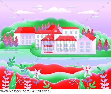 Landscape Village, Hills, Trees, River, Lake, Forest. Rural Valley Farm Countryside With House, Farm