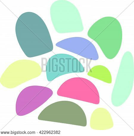 Abstract Semi Circle Shape Random Blotch Inkblot. Round Organic Blob Blot Shape. Splat Drop Of Liqui