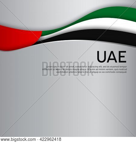 Abstract Waving Flag Of United Arab Emirates. Paper Cut Style. Creative Background For The Design Pa