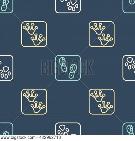 Set Line Paw Print, Frog Paw Footprint And Human Footprints Shoes On Seamless Pattern. Vector