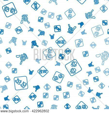 Set Line Seagull Paw Footprint, Paw And Magnifying Glass With Footsteps On Seamless Pattern. Vector