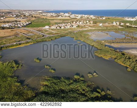 Drone View Of The Lake Near Larnaca, Cyprus