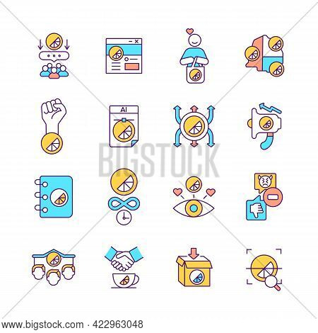 Brand Promotion Rgb Color Icons Set. Recognizable Company Logo. Isolated Vector Illustrations. Marke