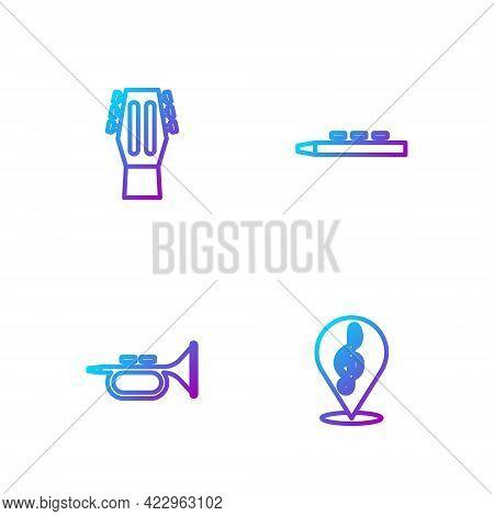 Set Line Treble Clef, Trumpet, Guitar And Drum And Drum Sticks. Gradient Color Icons. Vector