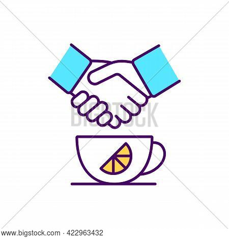 Custom Mug With Printed Brand Logo Rgb Color Icon. Informal Meeting. Branded Cup. Isolated Vector Il