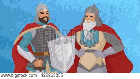 Two Warriors, Medieval Costumes Of Knights, Defenders And Heroes, Teacher And Student, Father And So