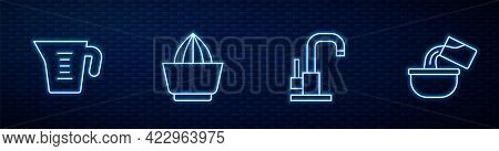 Set Line Water Tap, Measuring Cup, Citrus Fruit Juicer And Saucepan. Glowing Neon Icon On Brick Wall