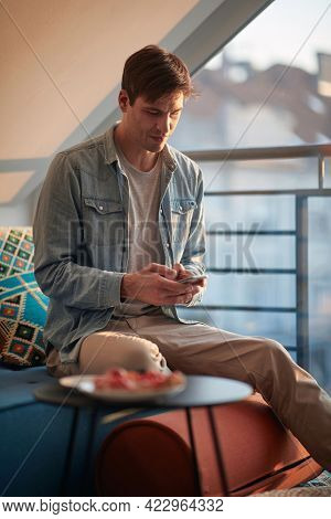 A young man texting on the smartphone while sitting on the sofa in a relaxed atmosphere at home. Leisure, home