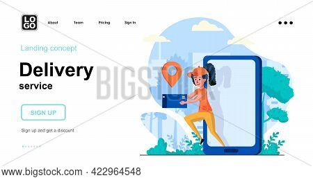 Delivery Service Web Concept. Woman Courier Holds Parcel, Order Delivery And Tracking In Mobile App.