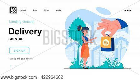 Delivery Service Web Concept. Express Food Delivery. Woman Receives Order From Courier At Home. Temp