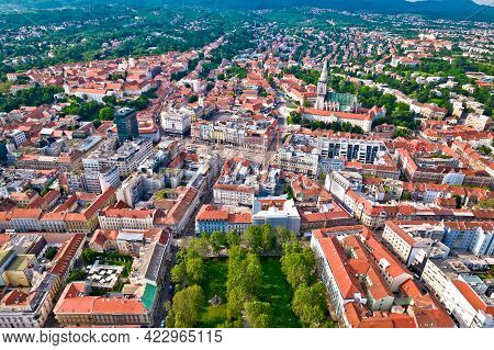 Zagreb Historic City Center Aerial View, Famous Landmarks Of Capital Of Croatia