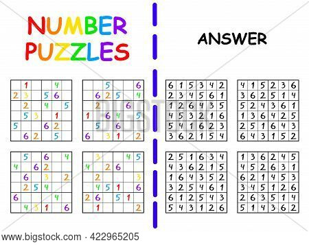 Four Sudoku For Children With Answer Colorful Vector Illustration. Easy Six By Six Sudoku For Beginn