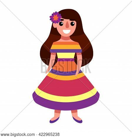 Happy Girl In Colorful Striped Dress And Flower In Long Brown Hair Vector Illustration. Flat Cartoon