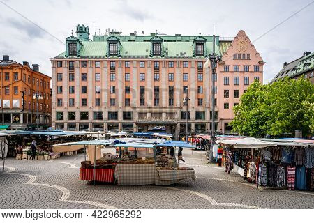 Stockholm, Sweden - May 25, 2021: Outdoor View Of The Beautiful And Famous Haymarket Square Hötorget