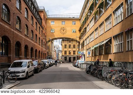 Stockholm, Sweden - May 25, 2021: Horizontal Perspective View Of The Old Famous Orange Vintage Build